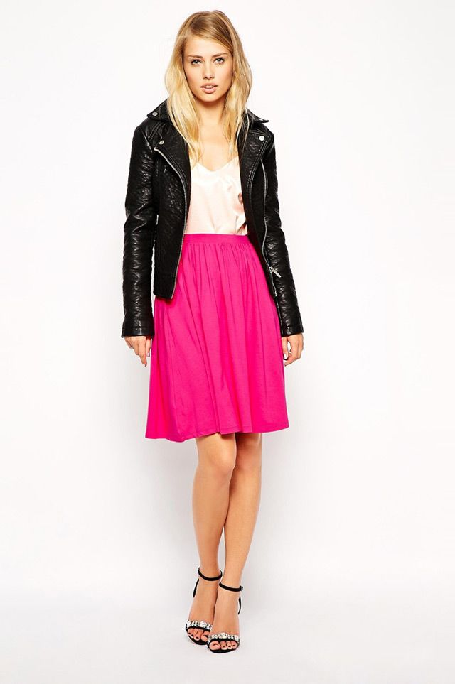 10 Chic Summer to Fall Transitional  Outfits: biker jacket and midi skirt. Women's fall trends from ASOS