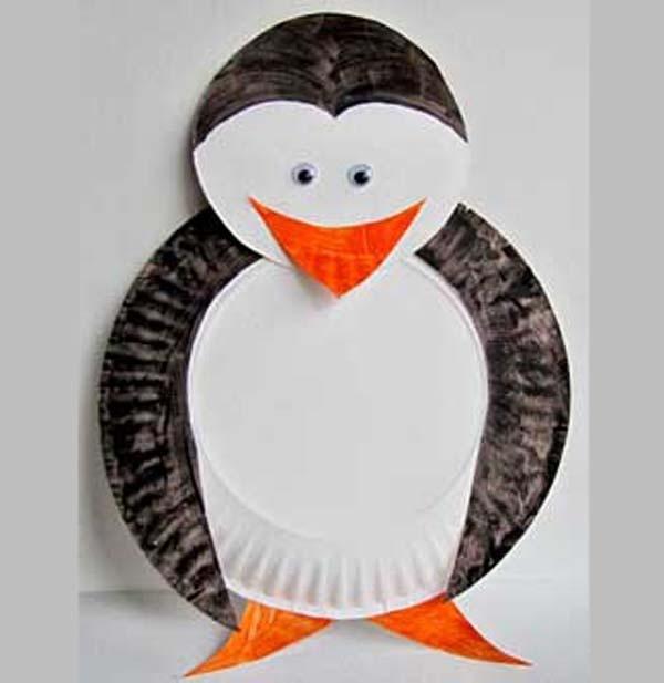 Thema Winter. Pinquin maken van bordjes, oudste kindjes