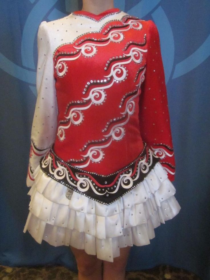 Marvelous Red Celtic Solo Irish Dance Dress Solo Costume For Sale