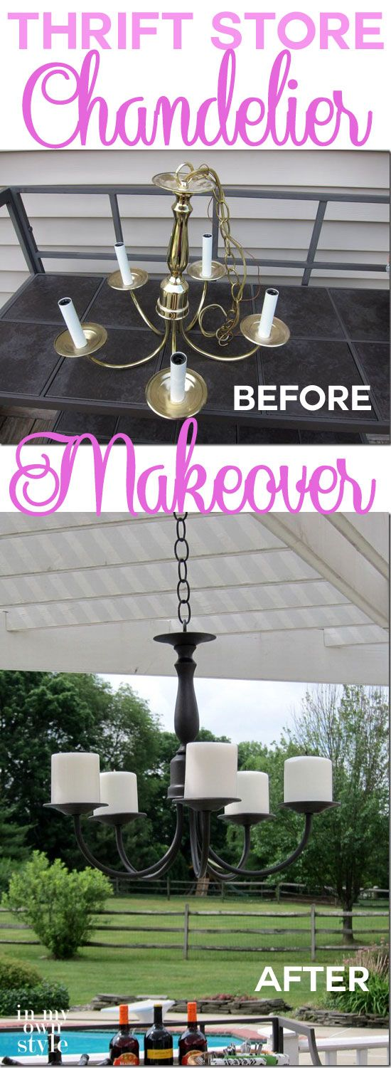 Step-by-step photo tutorial. Love the look of those outdoor candle chandeliers you see in Home Decorating catalogs? It is easy to make one at a fraction of the cost | InMyOwnStyle
