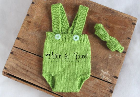 Newborn Knit Diaper Cover Overall Set: Photography Prop/ Ready to Ship on Etsy, $30.00 CAD