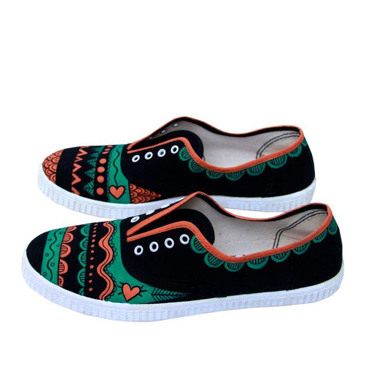 Zapatillas pintadas a mano personalizada color naranja verde