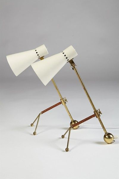 Pair of table lamps designed by Tapio Wirkkala Idman Oy Finland, 1958 Brass, lacquered metal and leather