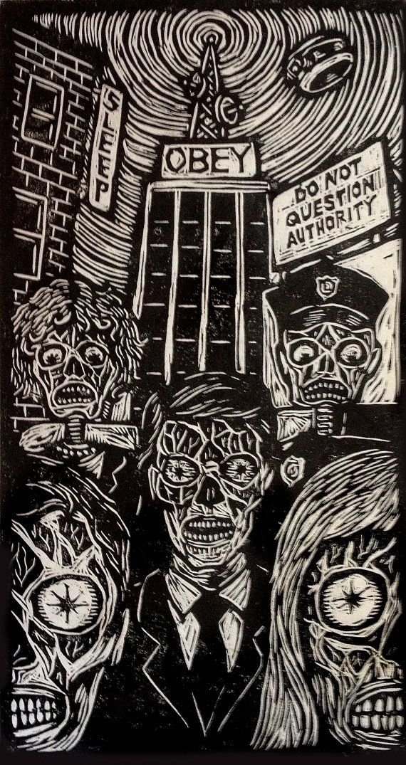 Brian Reedy ~ They Live ~ Woodblock Print, 12 x 24 inch, rice paper
