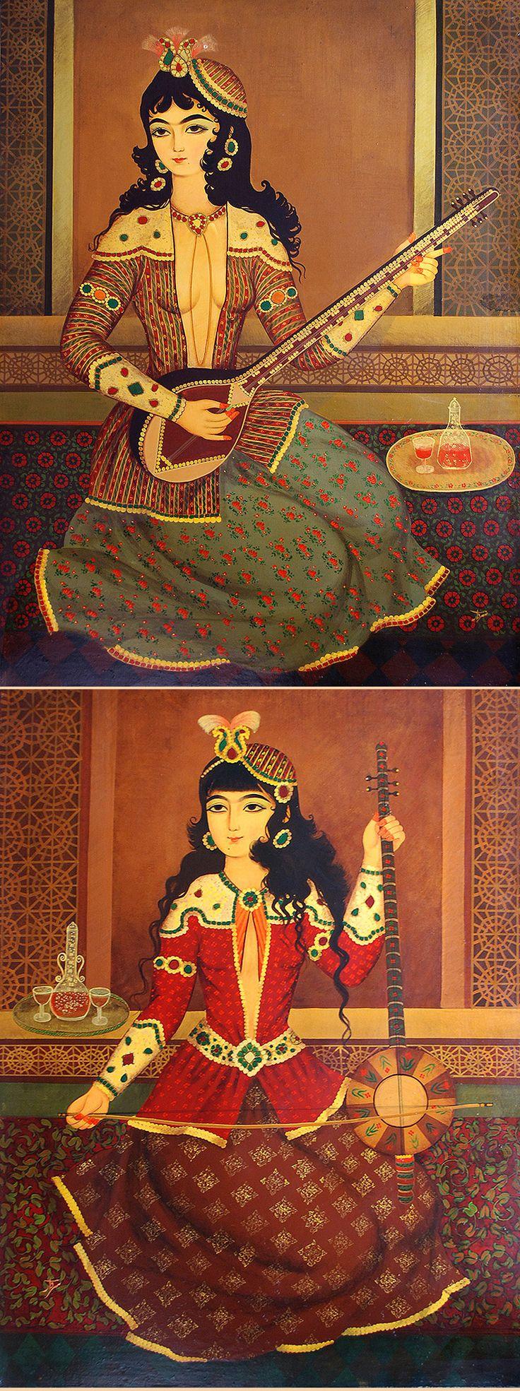 Persian Qajar Painting http://www.textileasart.com/inventory/a939.jpg