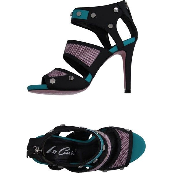 La Carrie Sandals ($130) ❤ liked on Polyvore featuring shoes, sandals, black, black shoes, rubber sole shoes, colorful sandals, black studded sandals and cone heel sandals