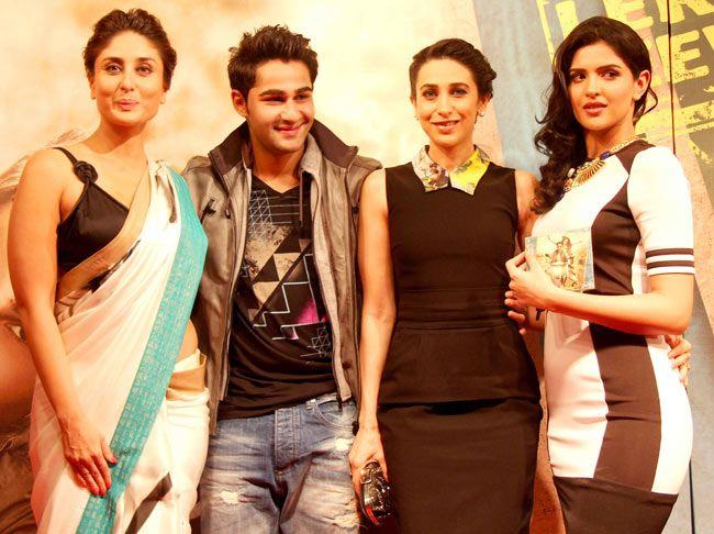 Kareena Kapoor, cousin Armaan Jain, Karisma Kapoor and Deeksha Seth at the music launch of 'Lekar Hum Deewana Dil'. #Style #Bollywood #Fashion #Beauty