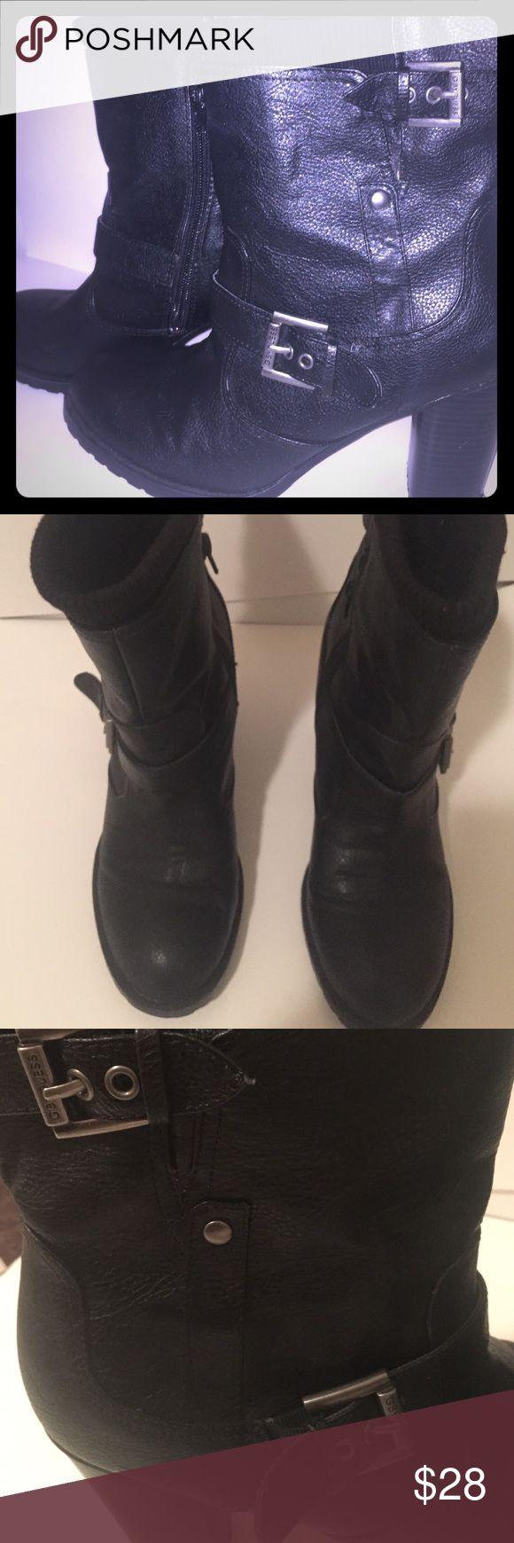 🎄GUESS booties/Free Gift with purchase!! G by Guess amazing well constructed black booties/ 💯% leather, 3.5 inch stacked heel. only worn 3 times. Thick rubber sole for winter weather! Buy these and I will throw in the Black Jessica McClintok Clutch! Happy Holidays! G by Guess Shoes Ankle Boots & Booties