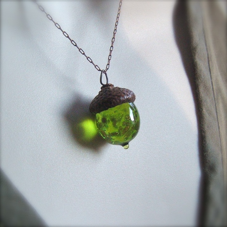 Glass Acorn Necklace - Olivine with Goldstone by Bullseyebeads. $22.00, via Etsy. LOVE.
