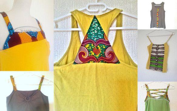 CéWax Débardeurs et tee shirt personnalisés avec dutissu wax africain !  Upcycling: «rien ne se perd, tout se transforme!» Ce concept se traduit tout simplement par l…