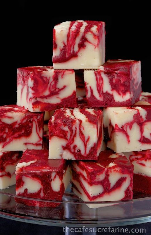 Winter White Red Velvet Fudge - A delicious, beautiful fudge for any season; not just winter! Try it for your next party; or for fun gifts to give relatives, neighbors and friends. #recipe #fudge