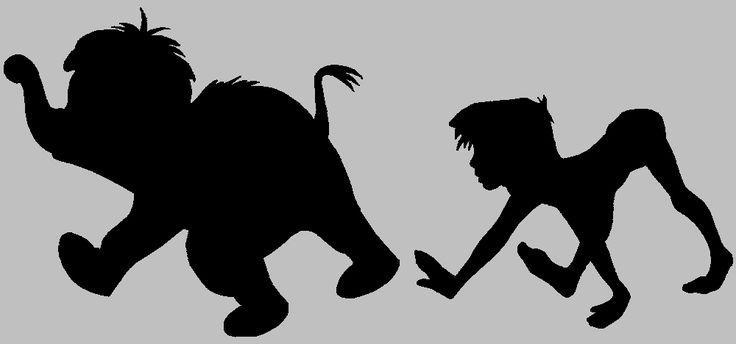 The Jungle Book silhouette - junior and mowgli