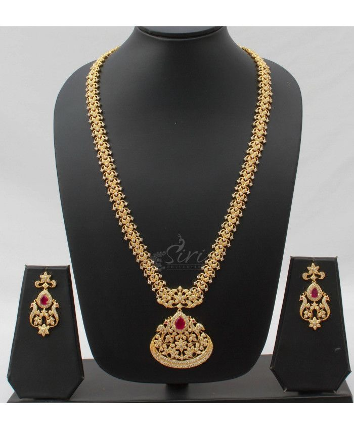 Fine AD Stone long Necklace Set in Peacock design