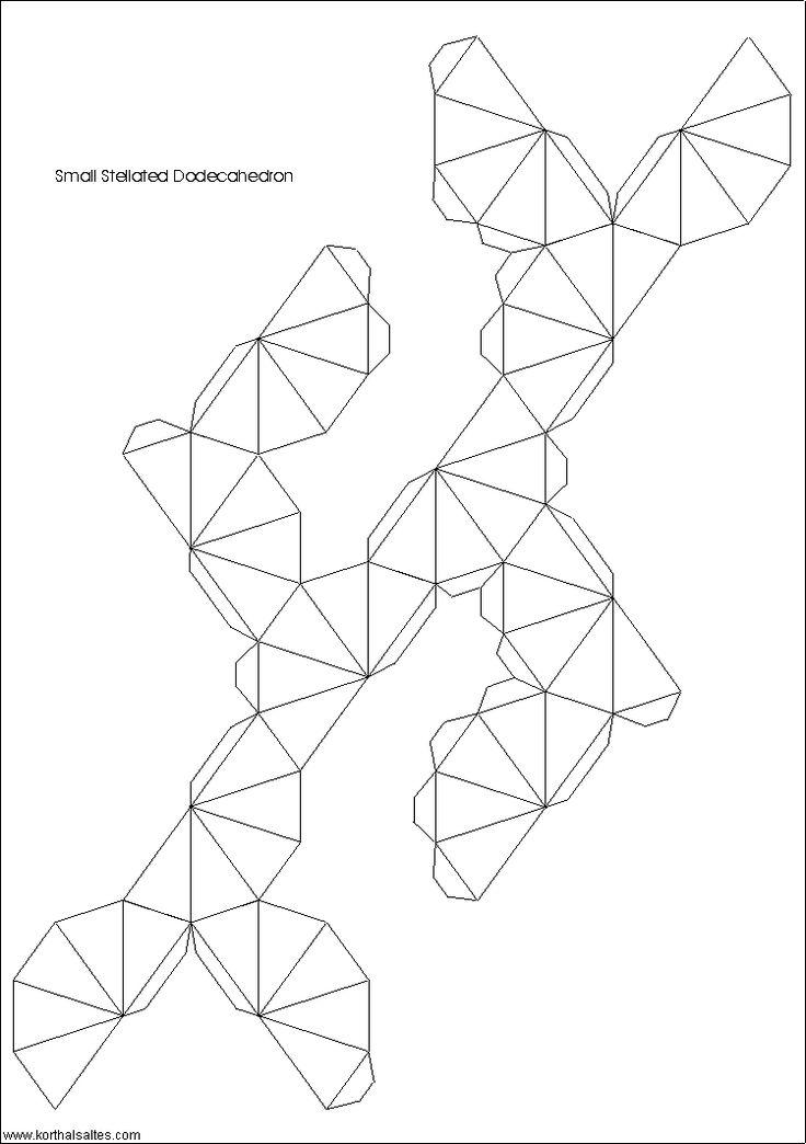 desarrollo plano de un pequeño dodecaedro estrellado