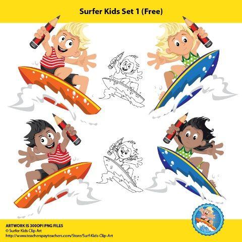 Surfer Kids Clip Art. Merry Christmas! Here are some cool surfer kiddos for free!!  Get it at http://www.teacherspayteachers.com/Store/Surfer-Kids-Clip-Art