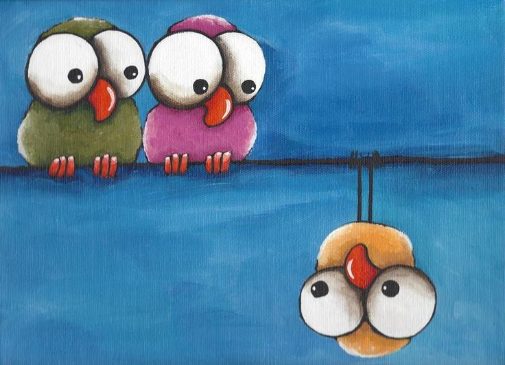 Original acrylic painting canvas whimsical yellow pink green bird odd one out #Illustration Art $35.00