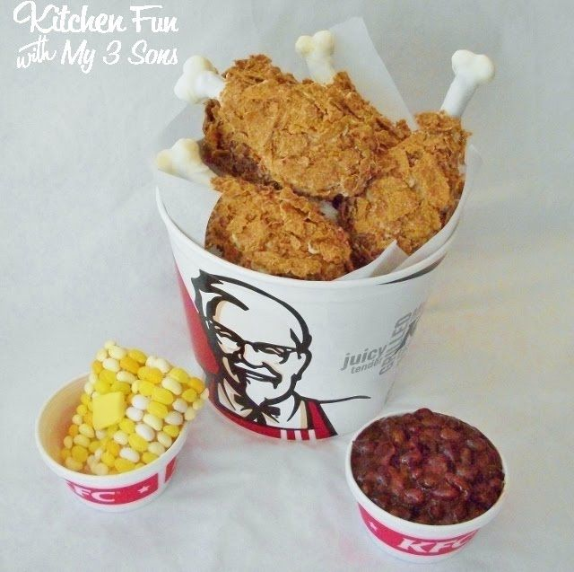 KFC Fried Chicken Bucket and Sides... APRIL FOOL'S! (from Kitchen Fun With My 3 Sons)