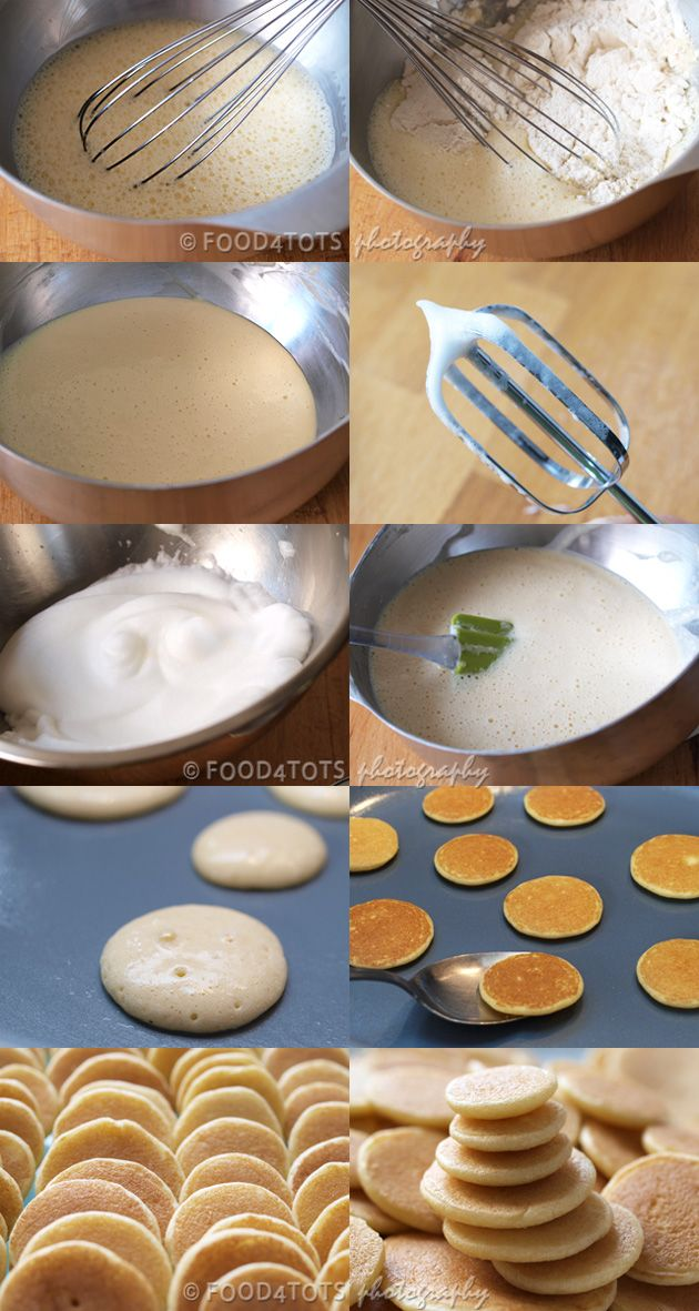 How to make mini fluffy pancakes - http://food-4tots.com/2011/09/03/mini-fluffy-pancakes/