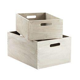 Whitewashed wood bins for bookshelves