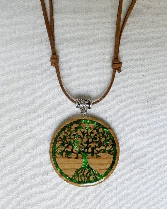 Colgante de madera árbol de la vida con condón de antelina