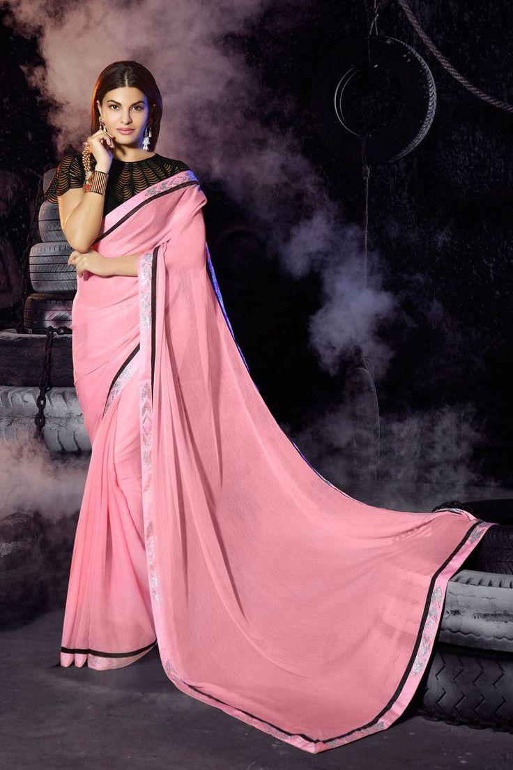 Jacqueline Fernandez Pink Chiffon Bollywood Designer Saree