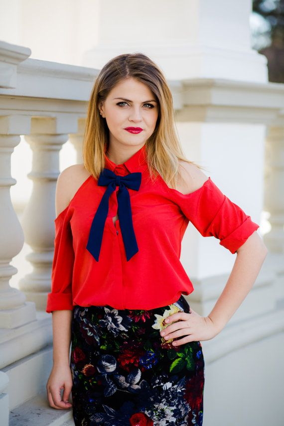 Navy Blue Slim Brooch Women's Bow Tie Genuine New