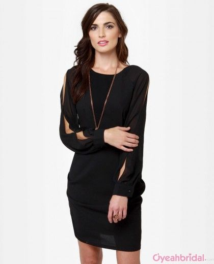 Chiffon Long Sleeves Prom Dresses black prom dress prom dresses short