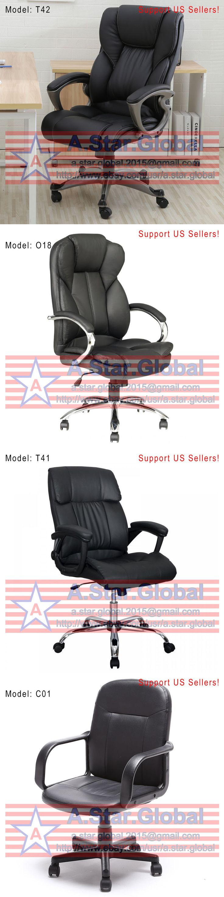 Wood swivel desk chair laquered finish warms amp padded seat ebay - Office Furniture Black Pu Leather High Back Office Chair Executive Task Ergonomic Computer Desk