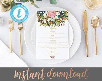 Wedding menu template, Menu Template, Editable Wedding Menu, floral wedding menus, DIY Wedding menu, Printable Wedding Menu, DIY Dinner Menu #weddingmenu