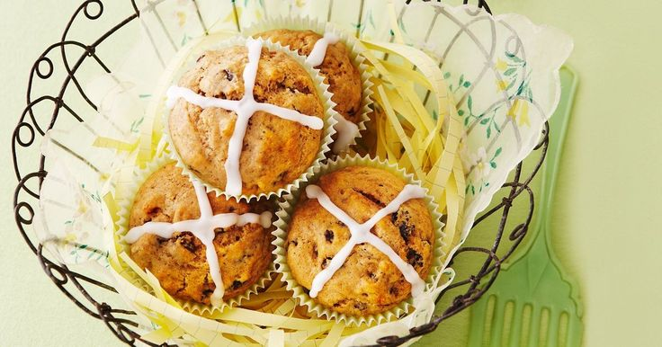 Our fast take on hot cross buns is ideal for kids - lots of fruit and no mixed peel.