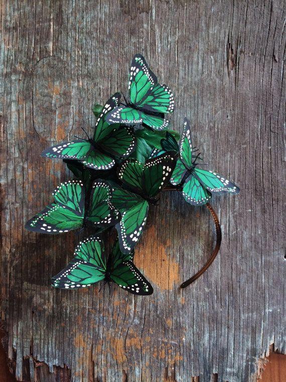 Emerald Green Monarch Butterfly Fascinator by Viva Delfina