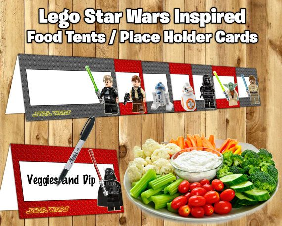 Lego Star Wars Inspired Food Tent Cards Lego Star by InstaBirthday #StarWars #LegoStarWars #BirthdayDecor