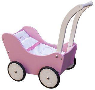 Houten poppenwagen roze van New Classic Toys.