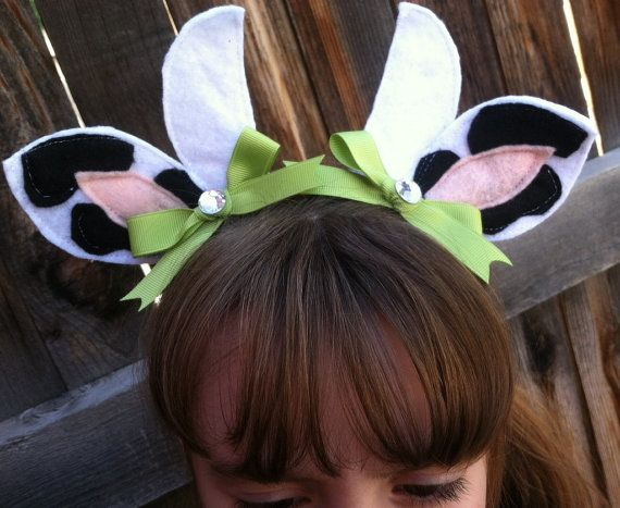 Halloween Costume Cow Tail and Ear Clippies by ThELaUgHyGiRaFfY