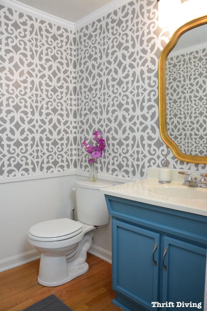 DIY Home Decorating Project - Small Gray Modern Bathroom Makeover by Thrift Diving using the Mansion House Grille Wall Stencils from Royal Design Studio