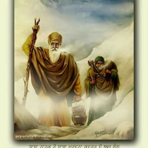 """Guru Nanak Maharaj touring the Himalayas and the area called """"Gyangunj"""" in the Himalayas. This area is said to be existing on a different dimension, and hence not detected by scientific methods and instruments. Among commen men, only permission from inside that place can gain you entry. Guru Nanak needed no permission."""