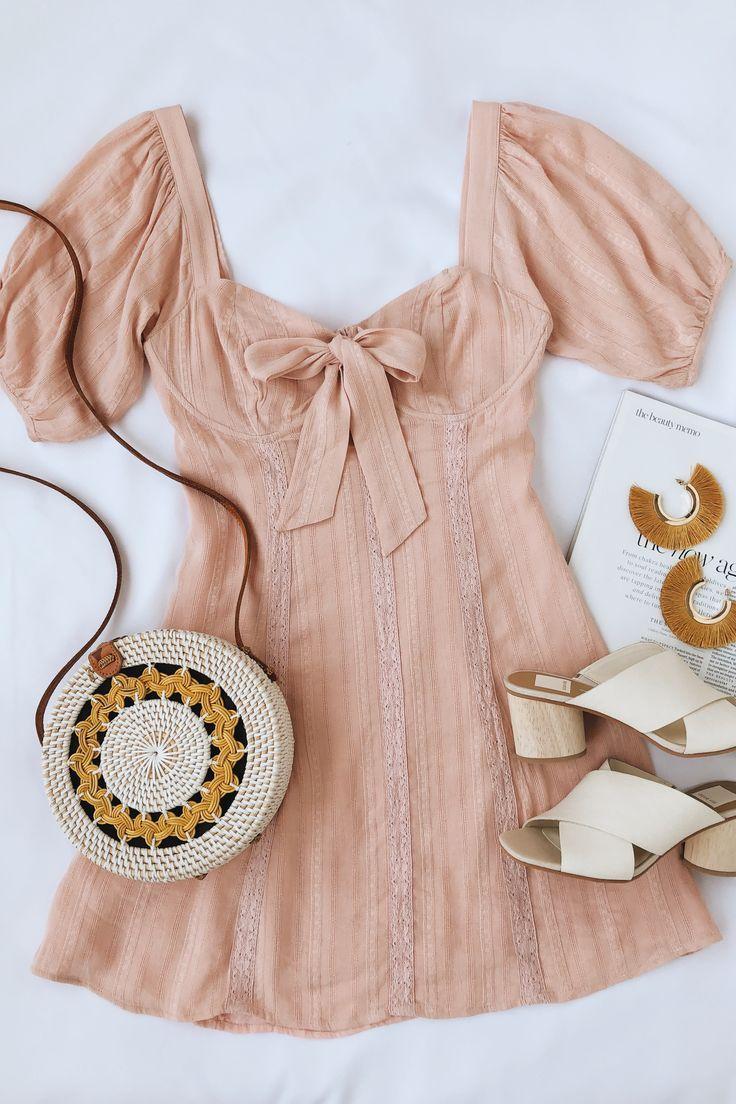 Lulus | Madeline Blush Pink Puff Sleeve Mini Dress | Size Large | 100% Rayon
