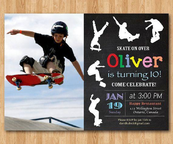 Invitación de cumpleaños del patín. Niño de patinaje por arthomer