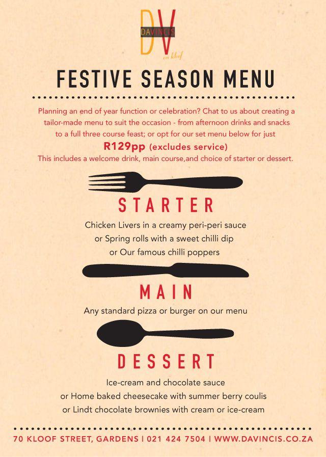 Festive season set menu 2013/2014
