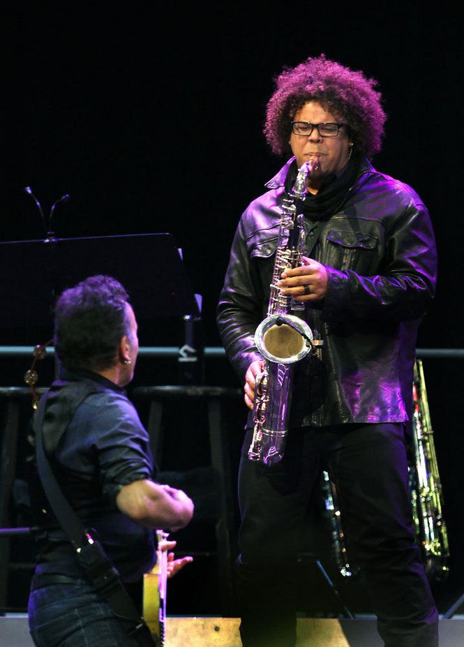 """Bruce Springsteen and Jake Clemons (Clarence """"The Big Man"""" Clemons' nephew)"""