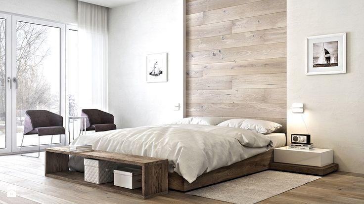 Drewno na ścianie w sypialni i za telewizorem w salonie