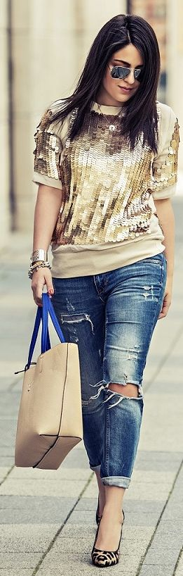 Patrizia Pepe Gold Sequined Blouse | Keep The Glamour ♡ ✤ LadyLuxury ✤