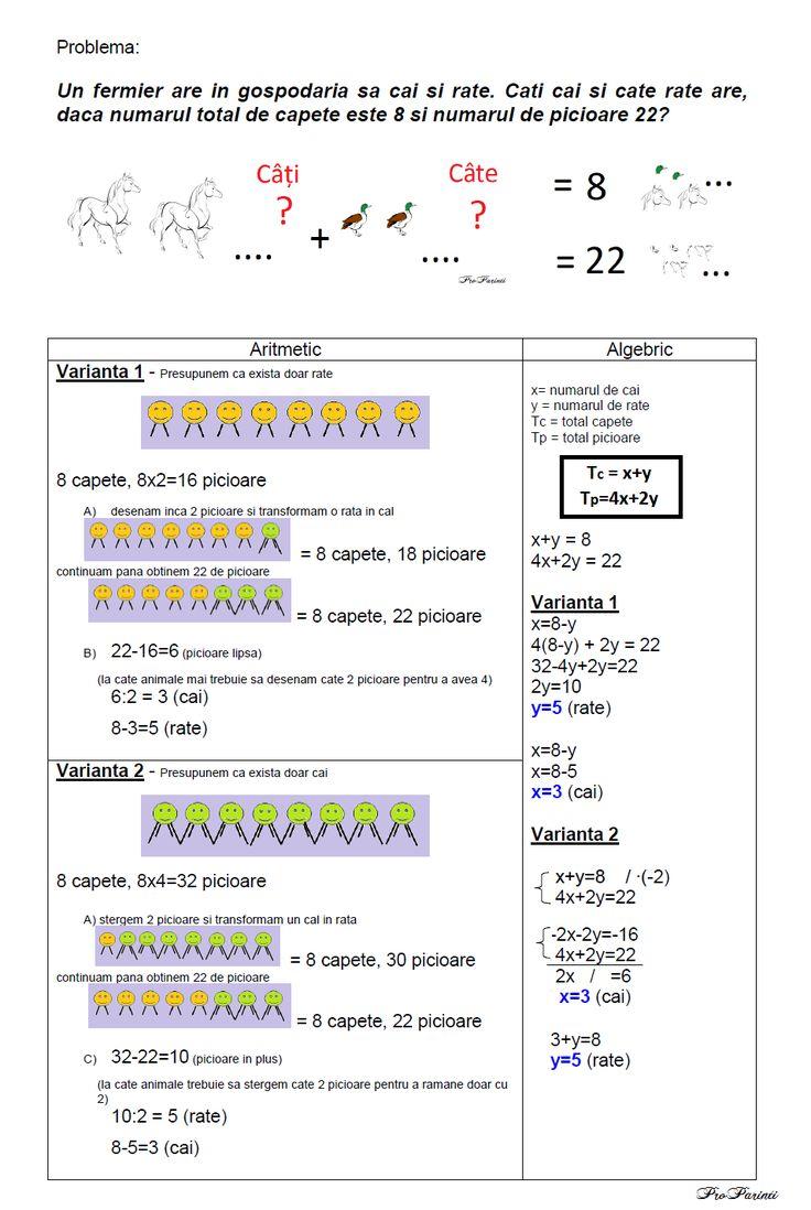 Probleme de matematica cu capete si picioare (aritmetic vs. algebric)