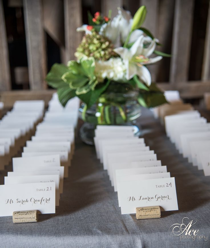 arrington vineyard wine cork place card holders for a wedding at lilac farms at arrington vineyards