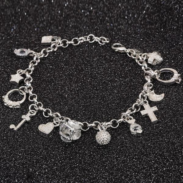 Item Type: BraceletsFine or Fashion: FashionChain Type: Link ChainSetting Type: Tension SettingBracelets Type: Charm BraceletsStyle: Trendy