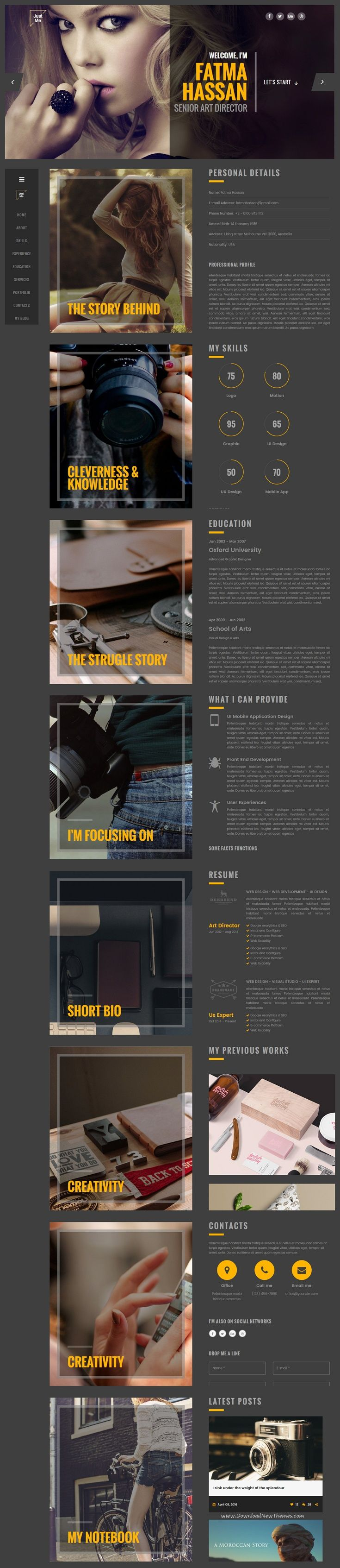 Just Me Creative Personal Resume vCard