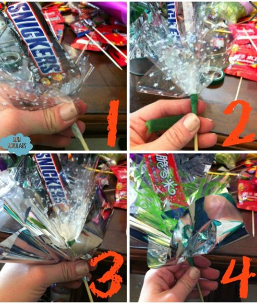 Cute way to wrap candy and make the bouquet look full
