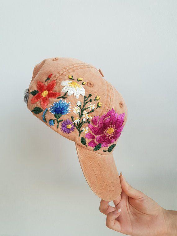Hand Embroidered Baseball Hat For Women Custom Embroidered Flowers Baseball Cap For Women Birthday G Hats For Women Hand Embroidered Caps For Women
