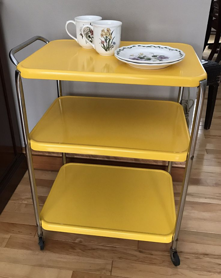 Vintage Yellow Kitchen Metal Mobile Cart Metal | Repurposed Kitchen 3  Tiered Tea Cart | Vintage Bar Cart | 1950s Home Decor | Dining Server