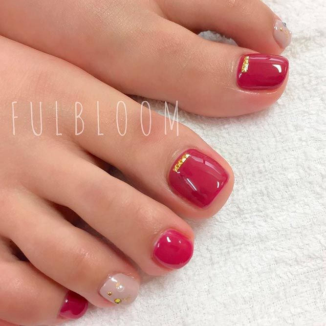 21 Chic Toe Nail Designs to Complete Your Image ❤ Gorgeous Red Polishes for the Perfect Pedicure picture 3 ❤ Next time you go to the nail salon pick the most glamorous toe nail design to show off how cool you are. Get the inspo here. https://naildesignsjournal.com/chic-toe-nail-designs/ #naildesignsjournal #nails
